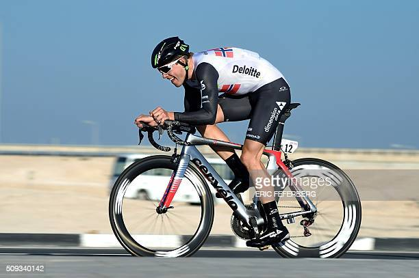 Norway's Edvald Boasson Hagen of the Dimension Data team cycles during the individual time-trial of the 2016 Tour of Qatar at Lusail circuit and...