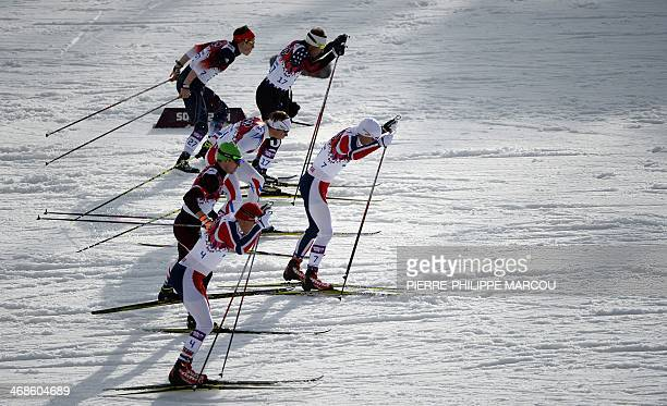 Norway's Eirik Brandsdal skis in front of Norway's Anders Gloeersen Austria's Harald Wurm France's Renaud Jay US Andrew Newell and Great Britain's...