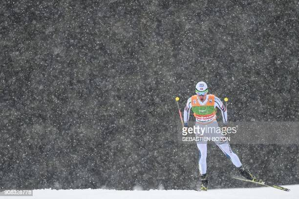 TOPSHOT Norway's Espen Andersen competes in the team sprint competition during the FIS Nordic Combined World Cup on January 21 2018 in ChauxNeuve...