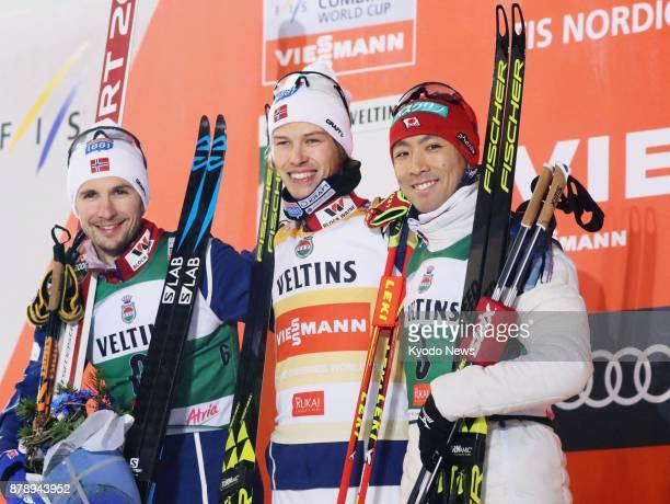 Norway's Espen Andersen poses for a photo after winning Nordic combined's World Cup season opener in Ruka, Finland, on Nov. 24 alongside runner-up...