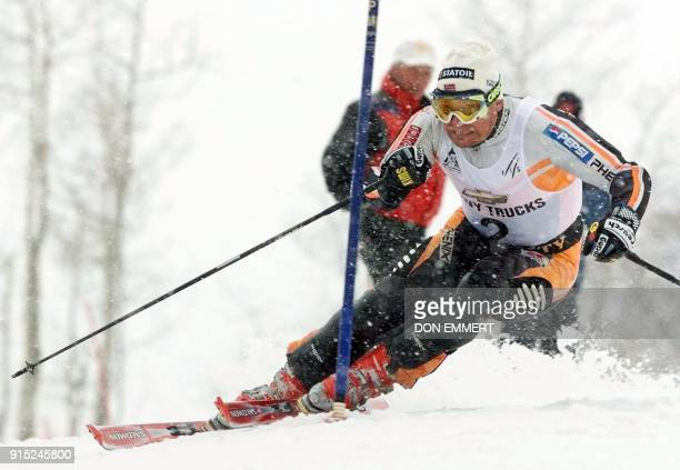 Norway's Finn Christian Jagge cuts past a gate during the first run of the men's World Cup slalom 22 November in Park City Utah Jagge had the best...