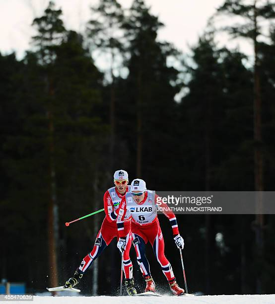 Norway's Finn Haagen Krogh and Martin Johnsrud Sundby compete during the FIS CrossCountry World Cup Men 15km Free 'Handicap' Start in Falun on March...