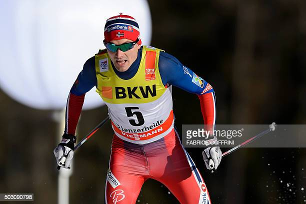 Norway's Finn Haagen Krogh competes in the men's 15 km sprint free qualifications at the Tour de Ski event on January 1 2016 in Lenzerheide / AFP /...