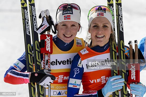 Norway's first place winner Therese Johaug poses with her second placed compatriot Marit Bjoergen after competing in the women's 10km classic...