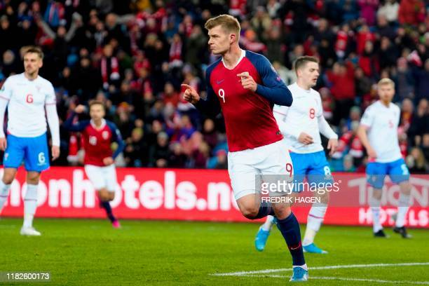 Norway's forward Alexander Sorloth celebrate scoring during the UEFA Euro 2020 Group F qualification football match between Norway and the Faroe...
