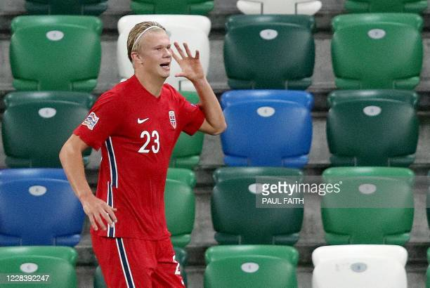 Norway's forward Erling Braut Haaland celebrates after scoring their fifth goal during the UEFA Nations League football match between Northern...