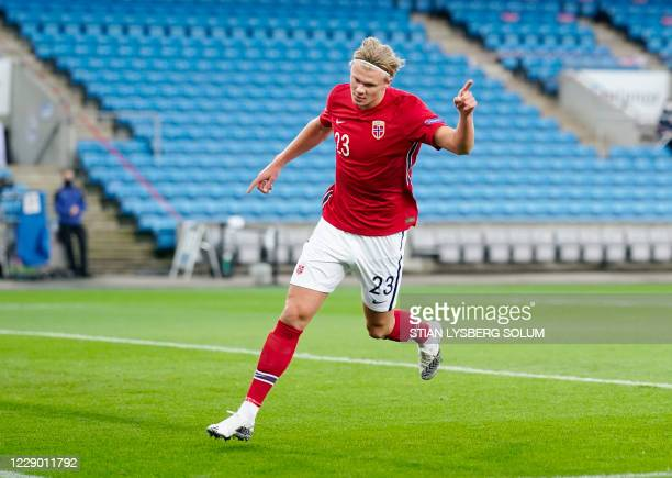 Norway's forward Erling Braut Haaland celebrates scoring the opening goal during the UEFA Nations League football match Norway v Romania, on October...