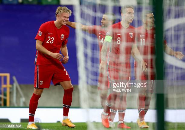 Norway's forward Erling Braut Haaland celebrates scoring their second goal during the UEFA Nations League football match between Northern Ireland and...