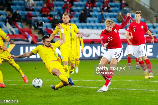 Norway's forward Erling Braut Haaland scores his third team's goal to lead 4:0 during the UEFA Nations League football match Norway v Romania, on...