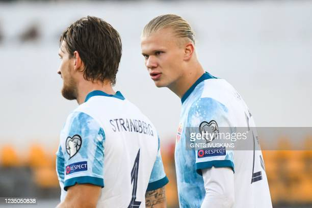 Norway's forward Erling Braut Haland and Norway's defender Stefan Strandberg are seen during the FIFA World Cup Qatar 2022 qualification Group G...