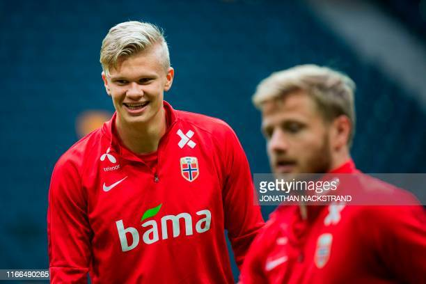 Norway's forward Erling Braut Haland takes part in a training session on the eve of the UEFA Euro 2020 qualifier Group F football match Sweden v...