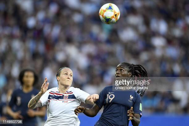 TOPSHOT Norway's forward Isabell Herlovsen vies with France's defender Griedge Mbock Bathy during the France 2019 Women's World Cup Group A football...
