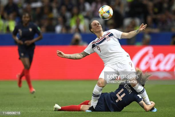 TOPSHOT Norway's forward Isabell Herlovsen vies with France's defender Marion Torrent during the France 2019 Women's World Cup Group A football match...