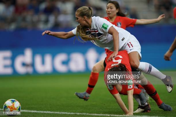 Norway's forward Lisa Utland and South Korea's defender Kim Do-yeon fight for the ball during the France 2019 Women's World Cup Group A football...