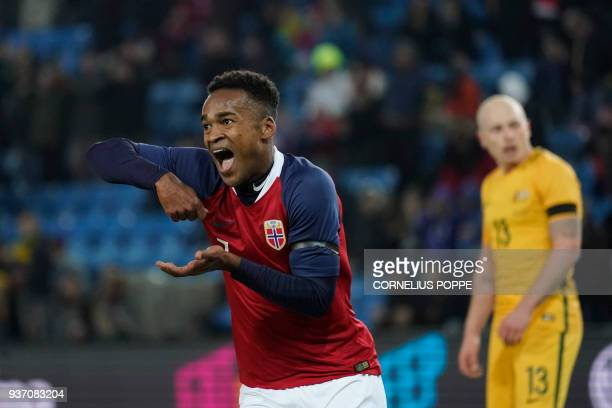 Norway's forward Ola Kamara celebreates after scoring during the international friendly football match of Norway vs Australia in Oslo Norway on March...