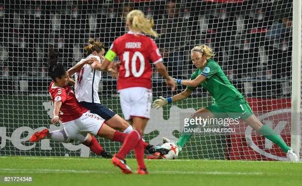 TOPSHOT Norway's goalkeeper Ingrid Hjelmseth vies with Denmark's Nadia Nadim during the UEFA Women's Euro 2017 football tournament match between...