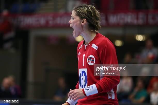 Norway's goalkeeper Kari Aalvik Grimsboe reacts during the World Women's HandballChampionship match between Germany and Norway in Frederikshavn...