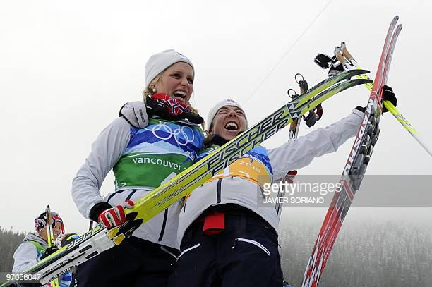 Norway's gold medalists Therese Johaug and Kristin Stoemer Steira react after the women's Cross Country Skiing 4x5 km relay at Whistler Olympic Park...