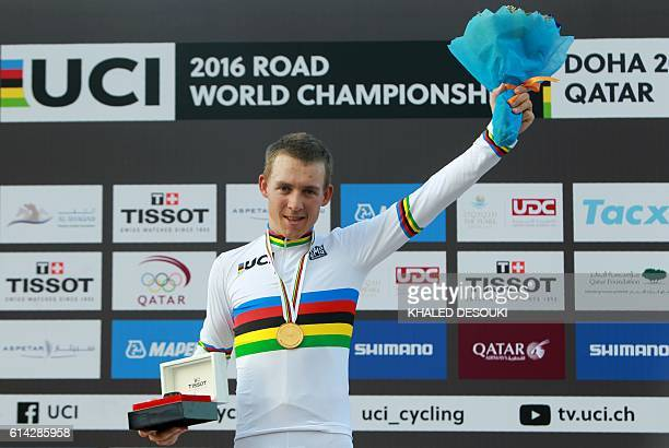Norway's gold medallist Kristoffer Halvorsen stands on the podium at the end of the men's under 23 road race event as part of the 2016 UCI Road World...