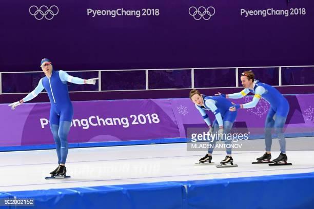 Norway's Haavard Boekko, Norway's Sverre Lunde Pedersen and Norway's Simen Spieler Nilsen reacts after competing in the men's team pursuit semi-final...