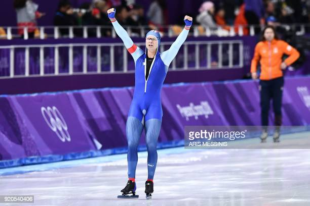 TOPSHOT Norway's Haavard Lorentzen reacts after competing in the men's 500m speed skating event during the Pyeongchang 2018 Winter Olympic Games at...