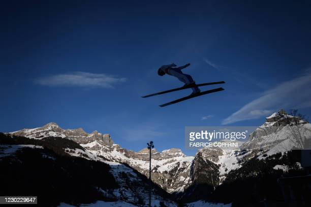 Norway's Halvor Egner Granerud competes during the men's FIS Ski Jumping World Cup competition in Engelberg, central Switzerland, on December 20,...