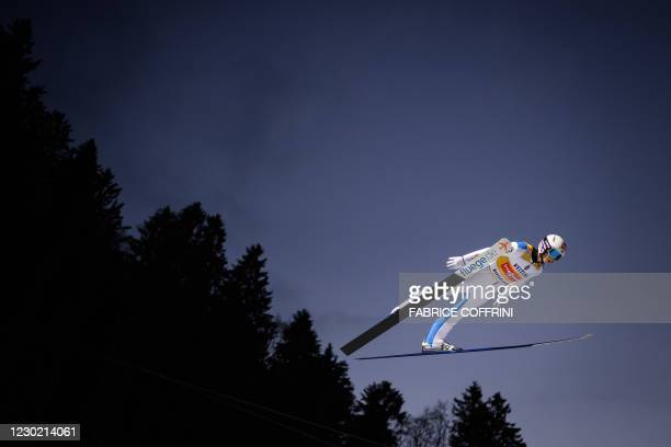 Norway's Halvor Egner Granerud competes in the men's FIS Ski Jumping World Cup competition in Engelberg, central Switzerland, on December 19, 2020.