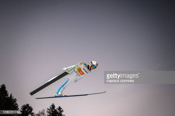 Norway's Halvor Egner Granerud competes in the men's FIS Ski Jumping World Cup competition in Engelberg, central Switzerland, on December 20, 2020.