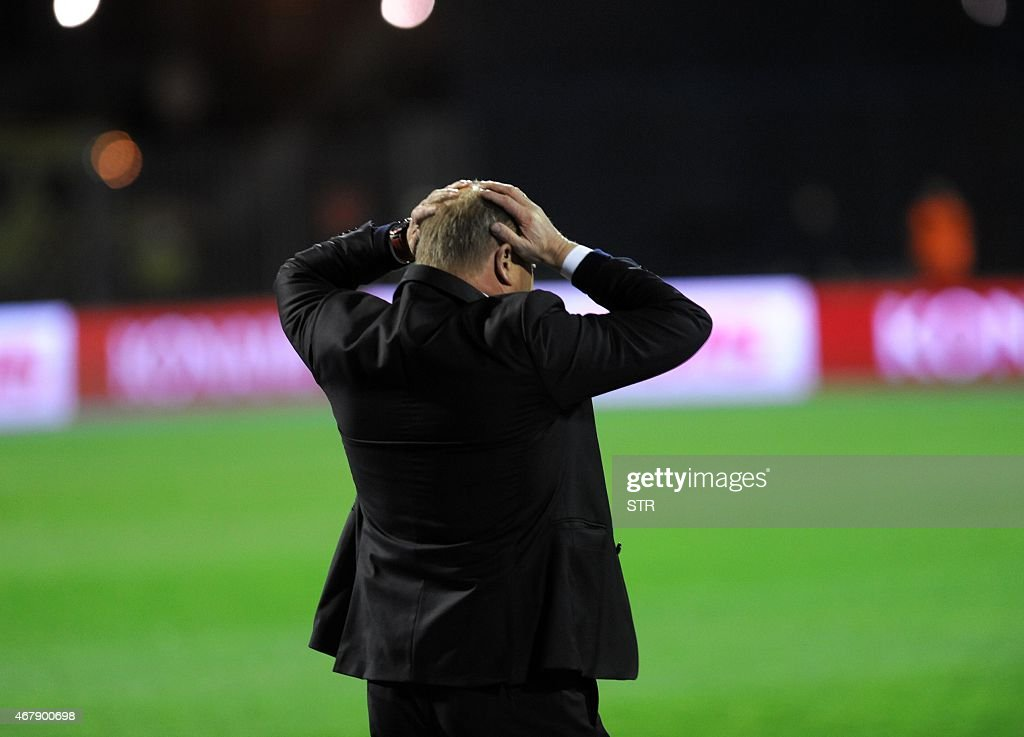 Norway's head coach Mathias Hogmo reacts during the Euro 2016 qualifying football match between Croatia and Norway on March 28, 2015 at the Maksimir stadium in Zagreb.