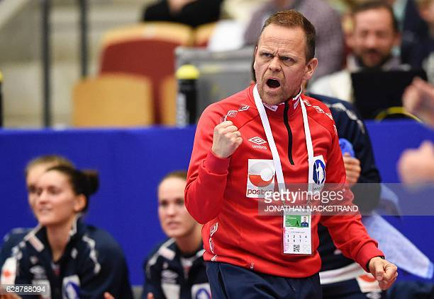 Norway's head coach Thorir Hergeirsson reacts during the Women's European Handball Championship Group D match between Norway and Russia in...