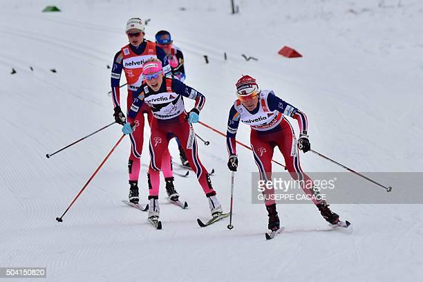 Norway's Heidi Weng competes ahead of Norway's Therese Johaug and Norway's Ingvild Flugstad Oestberg Johaug during the Women's 10 km Mass Start...