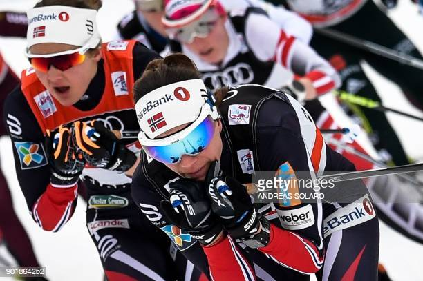Norway's Heidi Weng competes, on January 6, 2018 during the Women's Cross Country 10 km Mass Start Classic race of the FIS World cup Tour de Ski at...