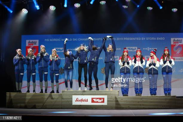 Norways Heidi Weng Ingvild Flugstad Oestberg Astrid Unrenholdt and Therese Johaug celebrate their silver medals Swedens Ebba Andersson Frida Karlsson...