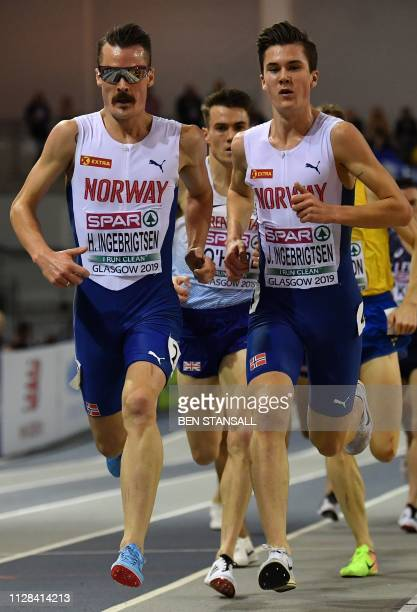 Norway's Henrik Borkja Ingebrigtsen Great Britain's Chris O'Hare and Norway's Jakob Ingebrigtsen competes in the mens 3000m final event at the 2019...