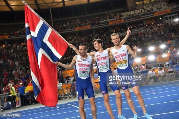 Norway's Henrik Ingebrigtsen Norway's Jakob Ingebrigtsen and Norway's Filip Ingebrigtsen celebrate after the men's 1500m final race during the...