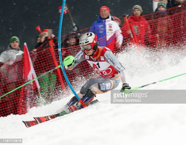 Norway's Henrik Kristoffersen competes during the first run of the men's Slalom event at the FIS Alpine Ski World Cup in Schladming, Austria, on...