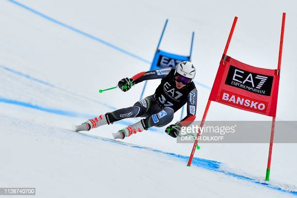 Norway's Henrik Kristoffersen competes during the men's SuperG combined event of the FIS Alpine Ski World Cup in Bansko on February 22 2019