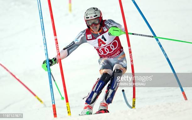 Norway's Henrik Kristoffersen competes during the second run of the men's Slalom event at the FIS Alpine Ski World Cup in Schladming, on January 28,...