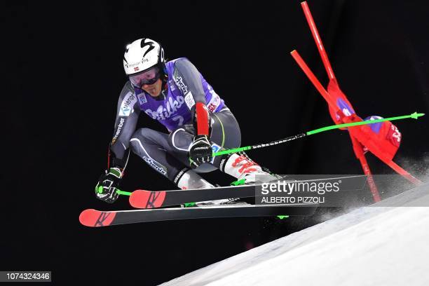 Norway's Henrik Kristoffersen competes in the 1/16th of the FIS Alpine World Cup Men's Parallel Giant Slalom nightrace on December 17, 2018 in Alta...