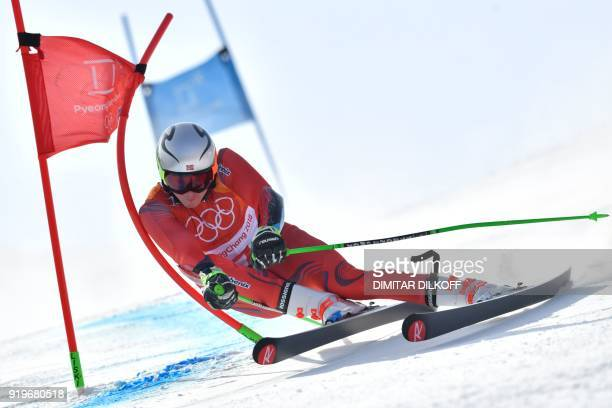 Norway's Henrik Kristoffersen competes in the Men's Giant Slalom at the Jeongseon Alpine Center during the Pyeongchang 2018 Winter Olympic Games in...