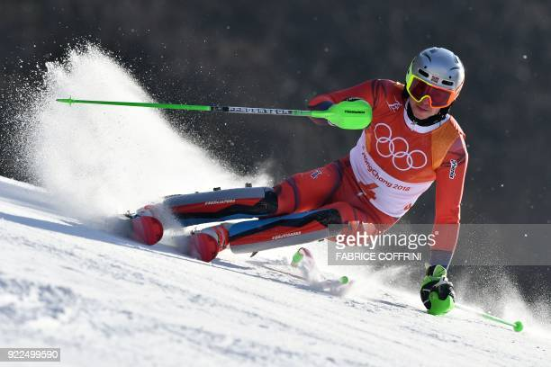 TOPSHOT Norway's Henrik Kristoffersen competes in the Men's Slalom at the Yongpyong Alpine Centre during the Pyeongchang 2018 Winter Olympic Games in...