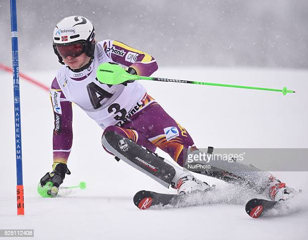 Norway's Henrik Kristoffersen races down the course during the men's Slalom on the third day of the famous Hahnenkamm at the FIS SKI World Cup in...
