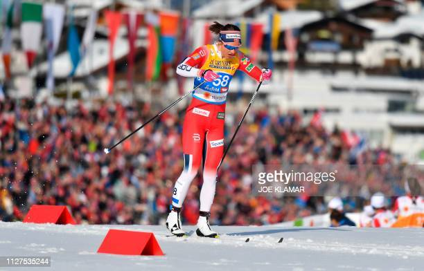 Norway's Ingvild Flugstad Oestberg competes in the Ladies' 10km crosscountry event at the FIS Nordic World Ski Championships on February 26 2019 in...