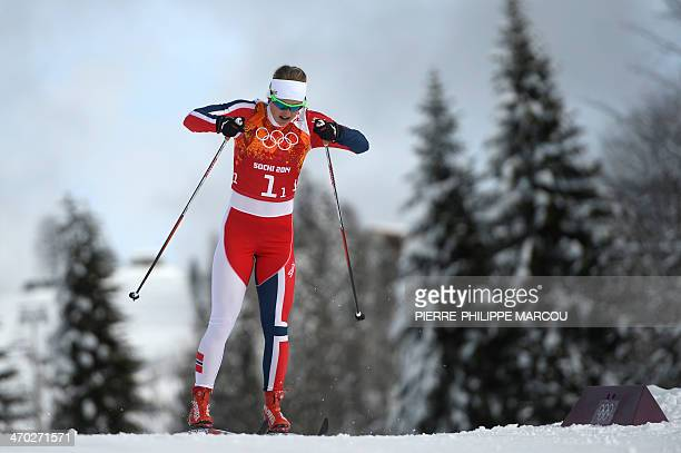 Norway's Ingvild Flugstad Oestberg competes in the Women's CrossCountry Skiing Team Sprint Classic Final at the Laura CrossCountry Ski and Biathlon...