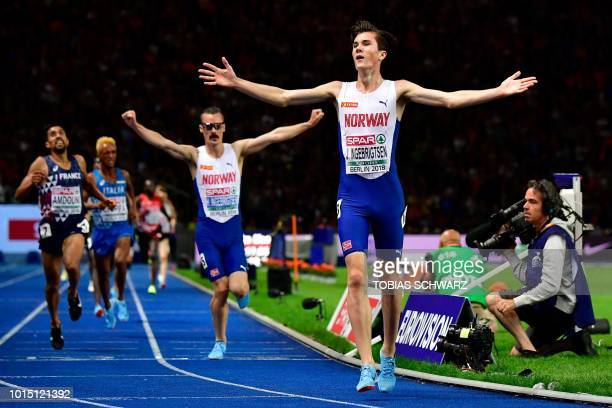 Norway's Jakob Ingebrigtsen wins the men's 5000m final race during the European Athletics Championships at the Olympic stadium in Berlin on August 11...