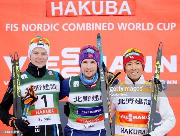 Norway's Jan Schmid poses for a photo after winning the Nordic combined World Cup in Hakuba Japan on Feb 4 alongside runnerup Kristjan Ilves of...