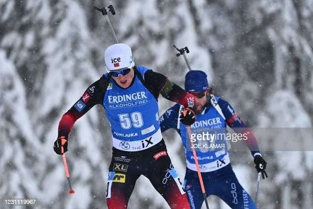 Norway's Johannes Dale competes in the Men's 10 km Sprint event at the IBU Biathlon World Championships in Pokljuka, Slovenia, on February 12, 2021.