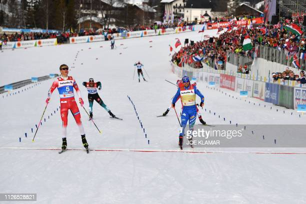 Norway's Johannes Hoesflot Klaebo wins ahead of Italy's Federico Pellegrino the final sprint's final of the Men's cross-country event at the FIS...