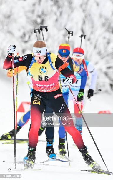 Norway's Johannes Thingnes Boe competes during the men's 10 km event of the IBU Biathlon World Cup in Oberhof on January 13, 2021.