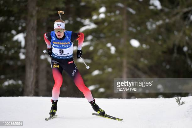 Norway's Johannes Thingnes Boe competes in the IBU Biathlon World Cup 10 km Men's sprint in RasenAntholz Italian Alps on February 15 2020